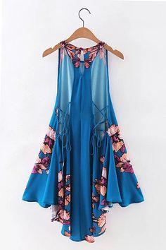 Blue Floral Lace Up Back Asymmetric Swing Dress Stylish Dress Book, Stylish Dresses, Women's Fashion Dresses, Elegant Dresses, Floral Lace, Lace Up, Latest Fashion For Women, Womens Fashion, Swing Dress