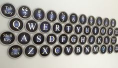 Giant Old Typewriter Keyboard using Gallon Size Paint Can Lids