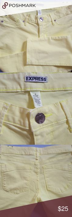 🎉SALE ☀️{Express} Florescent Skinny Jeans NWOT florescent yellow skinny jeans from Express. These jeans are the perfect pant for summer, especially evening concerts! These jeans are very soft and will be a fun addition to your wardrobe. Express Jeans