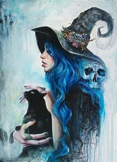 Acrylic portrait painting of a witch and her cat. Click through for prints of this artwork (cards, phone cases etc. dibujos brujas Blue Valentine Art Print by tanyashatseva Fantasy Kunst, Fantasy Art, Fantasy Witch, Art Noir, Illustration Art Nouveau, Skull Illustration, Halloween Illustration, Arte Obscura, Art Watercolor