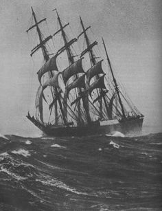 "Four Masted Steel Barque ""Passat"" was launched in 1911 at the Blohm & Voss shipyard, Hamburg, Germany Old Sailing Ships, Merchant Navy, Naval, Sail Away, Set Sail, Ship Art, Wooden Boats, Model Ships, Tall Ships"
