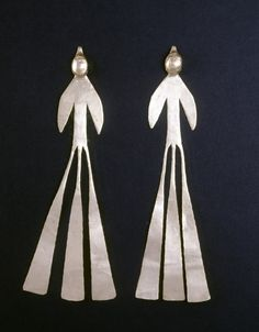 Bird-shaped ear ornaments, Colombia, Late Quimbaya, AD 700–1600.