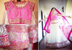 Pink & white lehenga wear - perfect bridal wear collection for the wedding day. #wedding #bride #lehenga #fashion