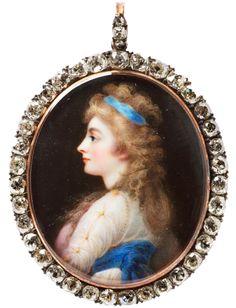 Portrait Miniature de Giorgiana Duchesse de Devonshire 1812