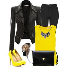 Black - Yellow Fashion by myfriendshop on Polyvore featuring Diane Von Furstenberg, Topshop and Michael Antonio
