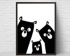 Bear Family Nursery Print Bear Art Poster Black and White Modern Kids Room Decor Large Print Minimalist Poster Woodland Baby Shower Nursery Prints, Nursery Wall Art, Nursery Decor, Project Nursery, Nursery Ideas, Art D'ours, Art Mural, Bear Nursery, Woodland Nursery