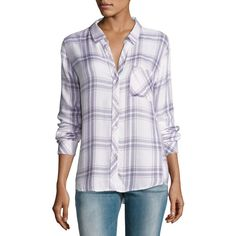 Rails Hunter Plaid Shirt ($148) ❤ liked on Polyvore featuring tops, white pattern, drape top, long-sleeve shirt, white top, rayon plaid shirt and rails shirts