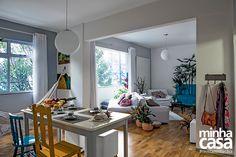 Visão de sala e jantar (rede+piso)
