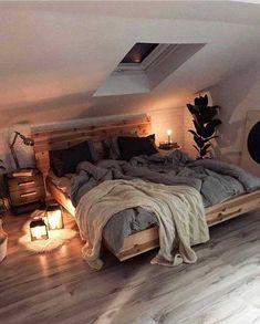 Attic Bedroom Designs, Room Ideas Bedroom, Bed Room, Attic Bedroom Decor, Bedroom Furniture, Scandinavian Interior Bedroom, Cozy Room, Aesthetic Bedroom, Dream Rooms