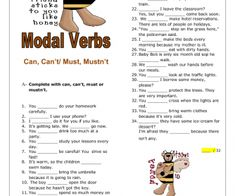 Can, Can't / Must, Mustn't Elementary Worksheet