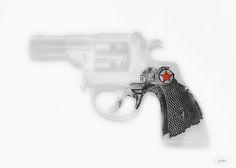 Capgun Artifact Monocrhome Print With Red Star Splash Soft digital processing with red star splash on photograph of vintage Trooper cap pistol.