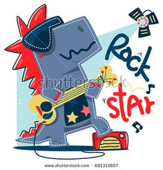 Funny cartoon t-rex rock star guitar player stand on stage isolated on white background illustration vector, design for kids t-shirt - compre este vetor na Shutterstock e encontre outras imagens. Cartoon Clip, Cartoon Kids, Cute Cartoon, T Rex Cartoon, Star Illustration, Funny Illustration, Drawing For Kids, Art For Kids, New T Shirt Design