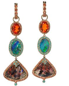 Love these Erica Courtney earrings. 18K yellow gold earrings featuring boulder Opals (22.84 ctw.) and fire Opals (2.62 ctw.) accented with orange Sapphires (1.75 ctw.) and Paraiba Tourmalines (.70 ctw.). #ericacourtney #opals #earrings  #instajewelry #earrings#earringsoftheday #earringswag#earringstagram #statementearrings#fashion #love #beautiful #style #pretty#beauty #instafashion #accessories#womensfashion #designerfashion#jewelrydesigner #statementjewelry