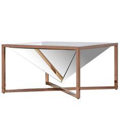 Small Pyramid Mirror Copper Coffee Table