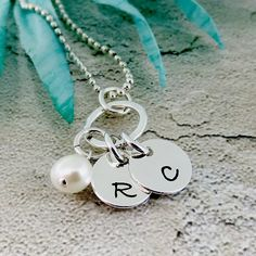 Personalized Initial Necklace, Initial Charm Necklace, Itty Bitty Initials, Sterling Silver, Hand Stamped Jewelry, Letter Charm Gift For Her