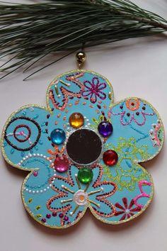 Blue Mirror Flower Original Sybille Lichtenstein Christmas Wood Slice Ornament