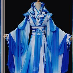 Color Transition Blue and White Ancient Chinese Queen Costume Complete Set for Women Cool Costumes, Cosplay Costumes, Queen Costume, Fantasy Costumes, Chinese Clothing, Fantasy Dress, Kimono Dress, Historical Clothing, Traditional Dresses