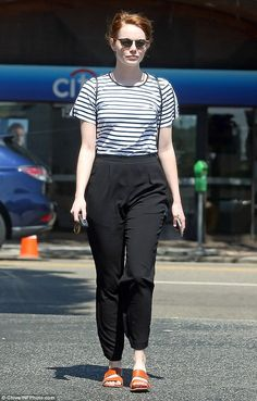 Parisian chic: Emma Stone looked stylish yet casual as she stepped out stateside after the Venice Film Festival. She was spotted treating herself to a nail spa day in L.A. on Tuesday