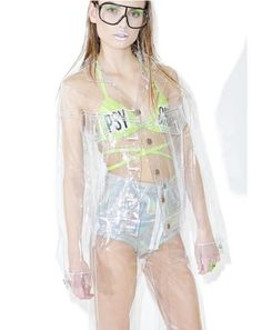 Brashy Crystalline Clear Jacket ...omg It'z all out in the open, bb. Clearly this jacket is incredible, with its completely transparent PVC construction, relaxed fit, dual chest pockets, arm slits in the long sleeves and metal front button closure.
