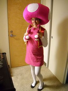 Nintendo Super Mario Bros Toadette cosplay. View more EPIC cosplay at http://pinterest.com/SuburbanFandom/cosplay/