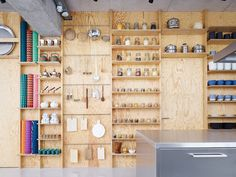 Parisian cooking classroom tools pack away onto plywood wall Plywood House, Plywood Walls, Plywood Cabinets, Cooking In The Classroom, Classroom Tools, Plywood Storage, Plywood Design, Plywood Interior, Shop Fittings