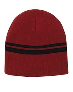 Double-Stripe Beanie Red/Black, Corporate Apparel and Clothing