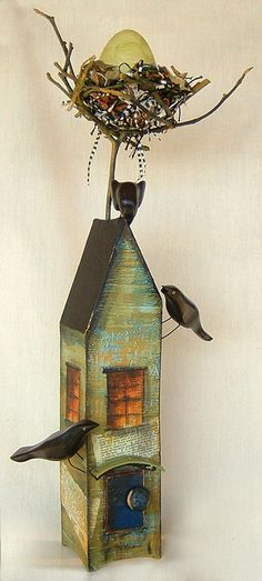 This could be wonderful....creating a bird nest above a bird house!  The magical Kathleen Stoltzfus  :)