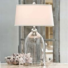 Glass and Nickel lamp