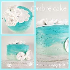 Ombre cake with fondant decorations Twiggy Nest Fondant Flowers, Sugar Flowers, Ombre Cake, Diy Cake, Wedding Desserts, Fun Cooking, Fondant Cakes, Color Themes, Wedding Trends