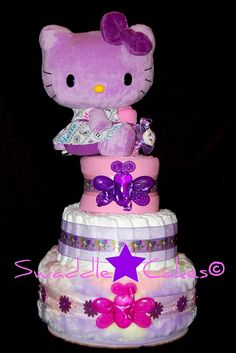 Hello There Miss Kitty!  Cute diaper cake.