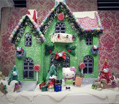 ReSeRveD HUGE Hello Kitty LIGHT UP Holiday dollhouse christmas cottage tree cat kitten wreath winter snow scene sled ornaments glitter. $115.00, via Etsy.
