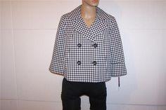 AINSLEY & AIDAN Cropped Jacket Sz 8 Black White Button Front 3/4 Sleeves NEW #BlackWhite #BasicJacket