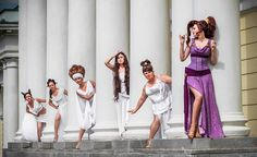 Funny Group Costumes, Group Costumes For Girls, Halloween Costumes Squad, Disney Group Costumes, Disney Cosplay Costumes, Halloween Cosplay, Princess Costumes, Cosplay Outfits, Meg From Hercules Costume
