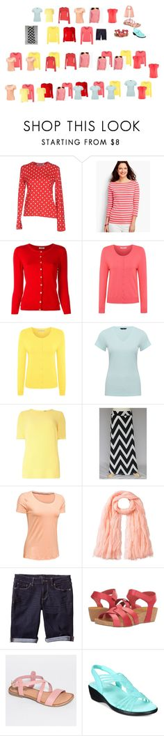 """""""coral, yellow, red, aqua summer capsule"""" by heather-woodford on Polyvore featuring Play Comme des Garçons, Talbots, P.A.R.O.S.H., George, M&Co, Dorothy Perkins, Under Armour, Faliero Sarti, Banana Republic and Eric Michael"""