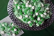 Easy Microwave Creamy Mint Chocolate Marshmallow Candy Bark -- a yummy treat for St. Patrick's Day and easily adapted for any holiday, wedding, or shower