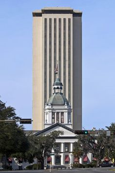 The Old State Capitol Building in Front of the New Highrise State Capitol Building, Tallahassee, Florida