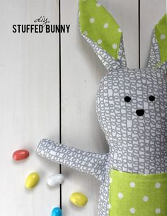 Sewing Stuffed Animals DIY Stuffed Bunny - FREE Sewing Pattern and Tutorial just in time for Easter! - Are you looking to make something special for your little one's Easter basket?Make this sweet and hip stuffed bunny! Sewing Patterns Free, Free Sewing, Doll Patterns, Sewing Tutorials, Sewing Ideas, Fabric Toys, Fabric Crafts, Sewing Crafts, Sewing Projects