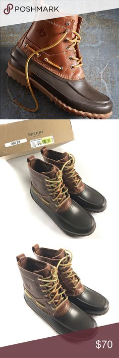 New Sperry Decoy Waterproof Leather Boots Brown New, the size 8.5 and 9 come with a box. Size 9.5 doesn't Sperry Top-Sider Shoes Boots
