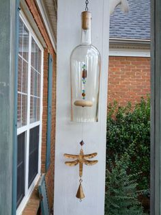 Dragon fly wine bottle wind chime by GreenGoddessGlass on Etsy, $19.00