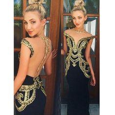 Black Unique See Through Back Gold Rhinestone Cap Sleeve Cheap Long Prom Dresses, WG276