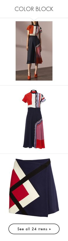 """""""COLOR BLOCK"""" by yuliaexe ❤ liked on Polyvore featuring dresses, block print dresses, prabal gurung, colour block dress, a line dress, short sleeve a line dress, pink, pink collared dress, pink dress and blue a line dress"""