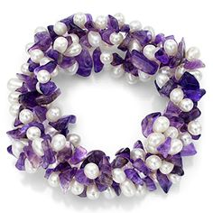 """4x7mm Purple Amethyst and 4-5mm White Cultured Freshwater Pearl 3-Rows Twisted Stretch Bracelet 7.5"""""""