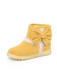 Shop High Quality Wool Inner Bowknot Yellow Women's Boots on sale at Tidestore with trendy design and good price. Come and find more fashion Snow Boots here. Cheap Womens Shoes, Womens Boots On Sale, Boots For Sale, Cute Boots, Women's Boots, Flat Heel Ankle Boots, Cheap Boots, Fashionable Snow Boots, Suede Flats