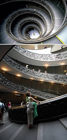 the spiral staircase at the Vatican Museum - one of the most photographs in the world. Designed in 1932