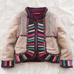 rainbow trim jacket. I love this warm and interesting jacket!