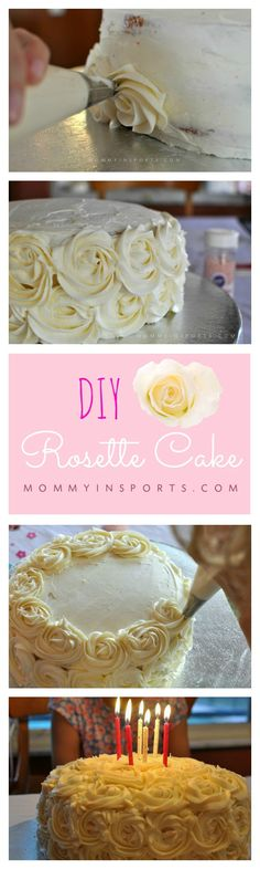 Making a DIY Rosette Cake is easier than you think! What an elegant birthday cake! (cookie decorating icing tips) Cake Decorating Frosting, Easy Cake Decorating, Birthday Cake Decorating, Cake Decorating Tutorials, Decorating Ideas, Cake Birthday, Cakes To Make, How To Make Cake, Cake Decorating For Beginners