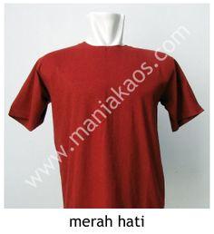 Kaos O-neck Lengan Pendek Merah Hati/Marun, bahan 30s combed cotton.