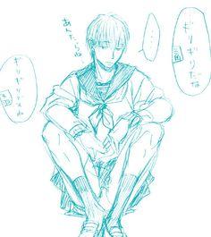 """犬山 上传于 2014-4-18 21:29 来自 微博 weibo.com #ヨネダコウ#「从风俗店得到了一件水手服于是让矢代(19岁)穿上了」 三角:""""勉勉强强能穿啊。""""天羽:""""勉勉强强能穿呢。""""矢代:""""……""""你们啊… """