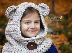 Crochet PATTERN - Bear Pattern Hooded Cowl - Crochet modèle de hotte de foulard - inclut bébé, bambin, enfant, enfants, tailles adultes - PDF 396