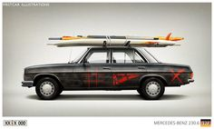 Firstcar Illustrations | Personalized Car Illustrations | Mercede Benz 230.6 - complete with 1980s surf boards!